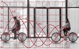 cyclists in a building with Bessel curve overlaid