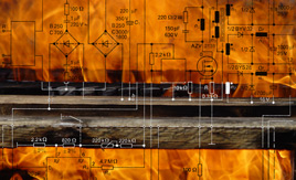 fire bar with electronic circuit diagram overlaid
